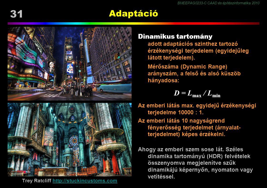 BMEEPAG0233-C CAAD és építészinformatika 2010 31 Adaptáció Dinamikus tartomány adott adaptációs szinthez tartozó érzékenységi terjedelem (egyidejűleg látott terjedelem).