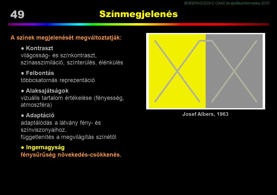 BMEEPAG0233-C CAAD és építészinformatika 2010 49 Színmegjelenés A színek megjelenését megváltoztatják: ● Kontraszt világosság- és színkontraszt, színasszimiláció, színterülés, élénkülés ● Felbontás többcsatornás reprezentáció ● Alaksajátságok vizuális tartalom értékelése (fényesség, atmoszféra) ● Adaptáció adaptálódás a látvány fény- és színviszonyaihoz, függetlenítés a megvilágítás színétől ● Ingernagyság fénysűrűség növekedés-csökkenés.