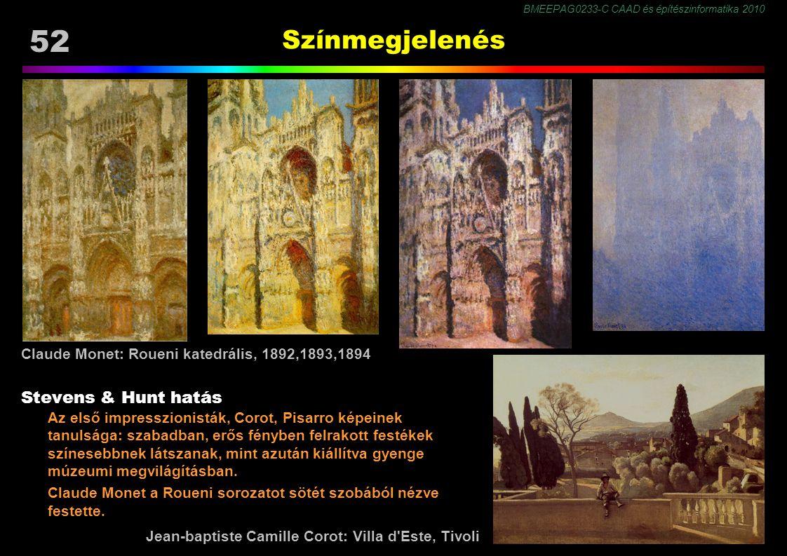 BMEEPAG0233-C CAAD és építészinformatika 2010 52 Színmegjelenés Stevens & Hunt hatás Az első impresszionisták, Corot, Pisarro képeinek tanulsága: szabadban, erős fényben felrakott festékek színesebbnek látszanak, mint azután kiállítva gyenge múzeumi megvilágításban.