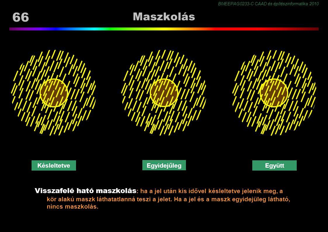 BMEEPAG0233-C CAAD és építészinformatika 2010 66 Maszkolás Visszafelé ható maszkolás : ha a jel után kis idővel késleltetve jelenik meg, a kör alakú maszk láthatatlanná teszi a jelet.