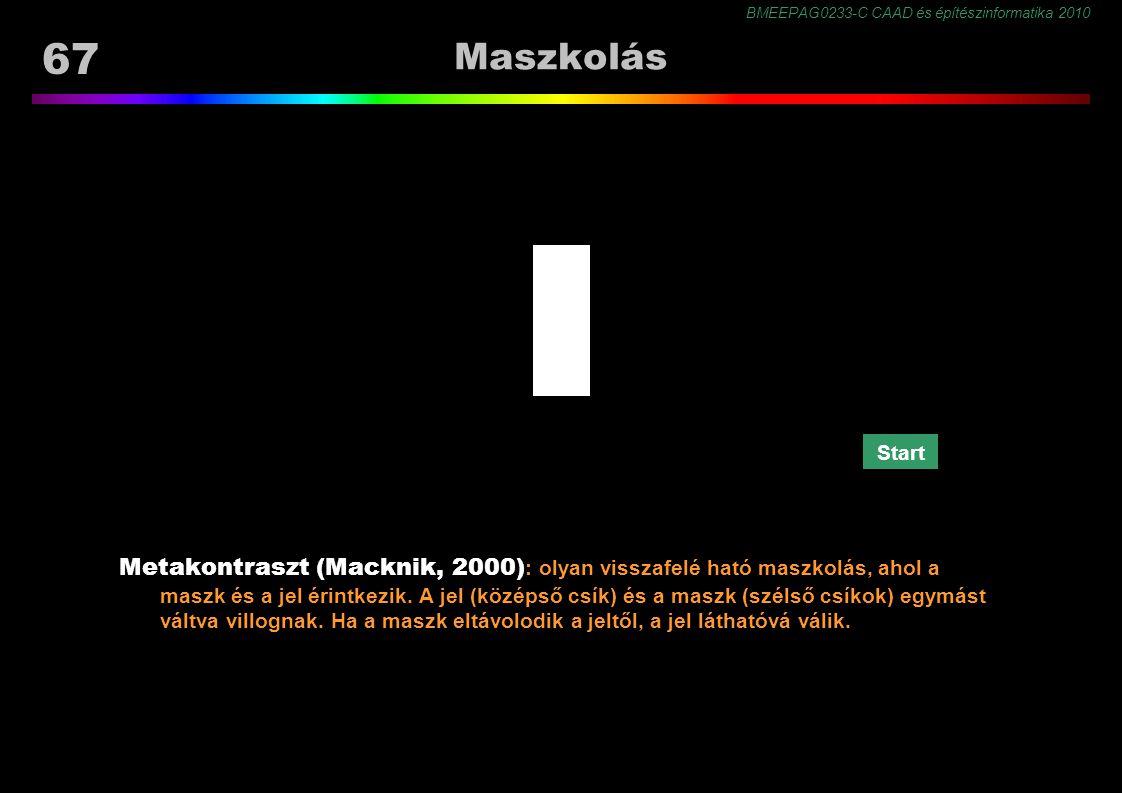 BMEEPAG0233-C CAAD és építészinformatika 2010 67 Maszkolás Metakontraszt (Macknik, 2000) : olyan visszafelé ható maszkolás, ahol a maszk és a jel érintkezik.