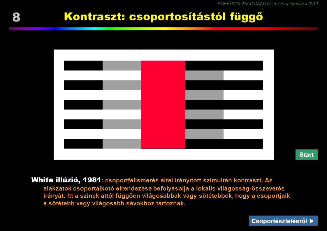 BMEEPAG0233-C CAAD és építészinformatika 2010 8 Kontraszt: csoportosítástól függő White illúzió, 1981 : csoportfelismerés által irányított szimultán kontraszt.