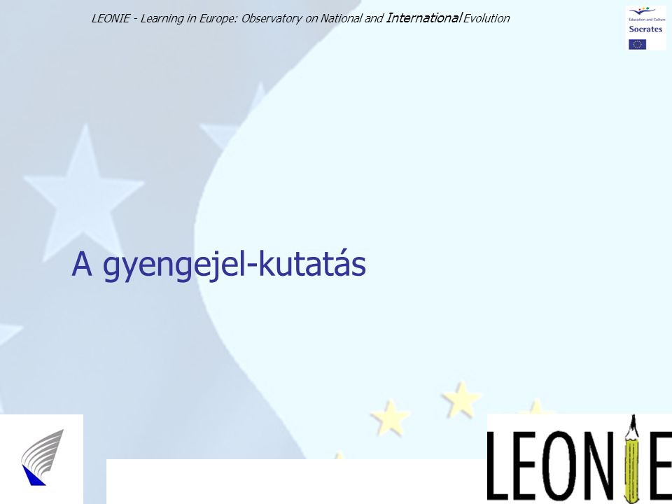 LEONIE - Learning in Europe: Observatory on National and International Evolution 15 A gyengejel-kutatás