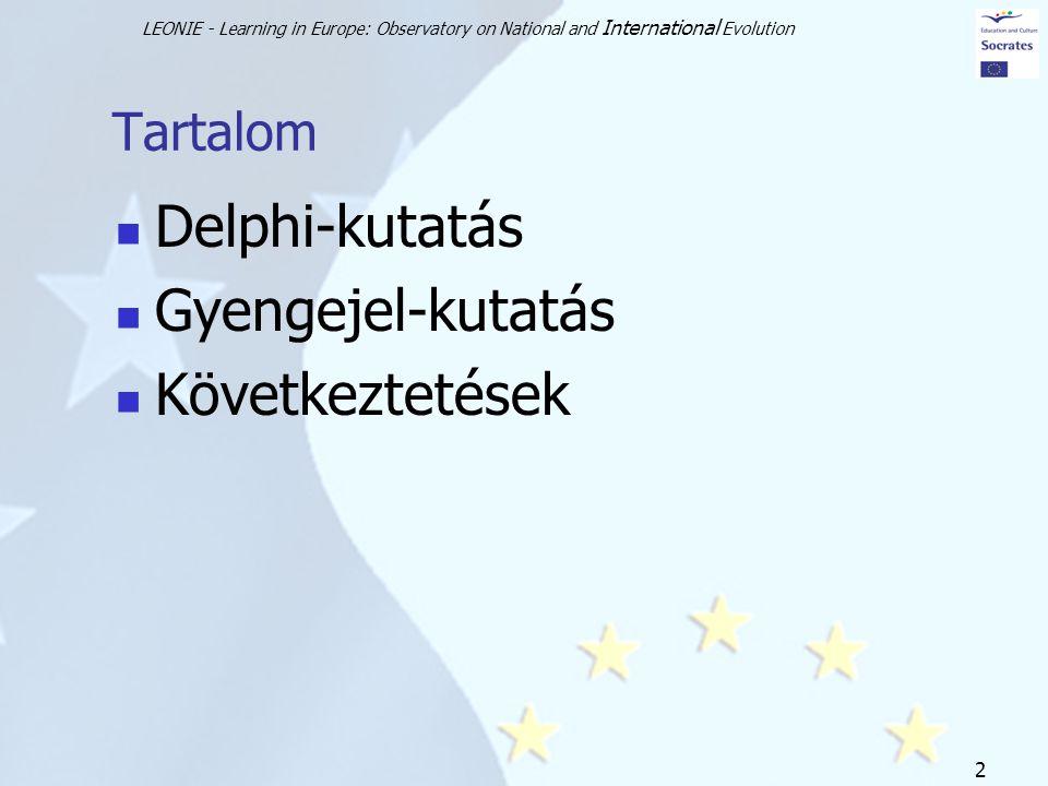 LEONIE - Learning in Europe: Observatory on National and International Evolution 2 Tartalom Delphi-kutatás Gyengejel-kutatás Következtetések