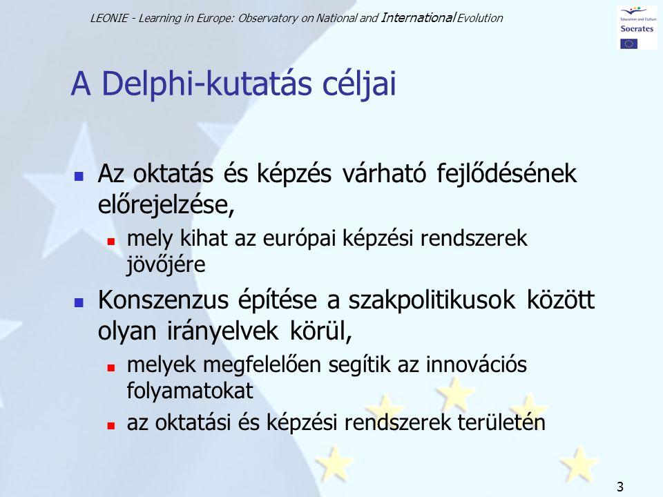 LEONIE - Learning in Europe: Observatory on National and International Evolution 3 A Delphi-kutatás céljai Az oktatás és képzés várható fejlődésének előrejelzése, mely kihat az európai képzési rendszerek jövőjére Konszenzus építése a szakpolitikusok között olyan irányelvek körül, melyek megfelelően segítik az innovációs folyamatokat az oktatási és képzési rendszerek területén