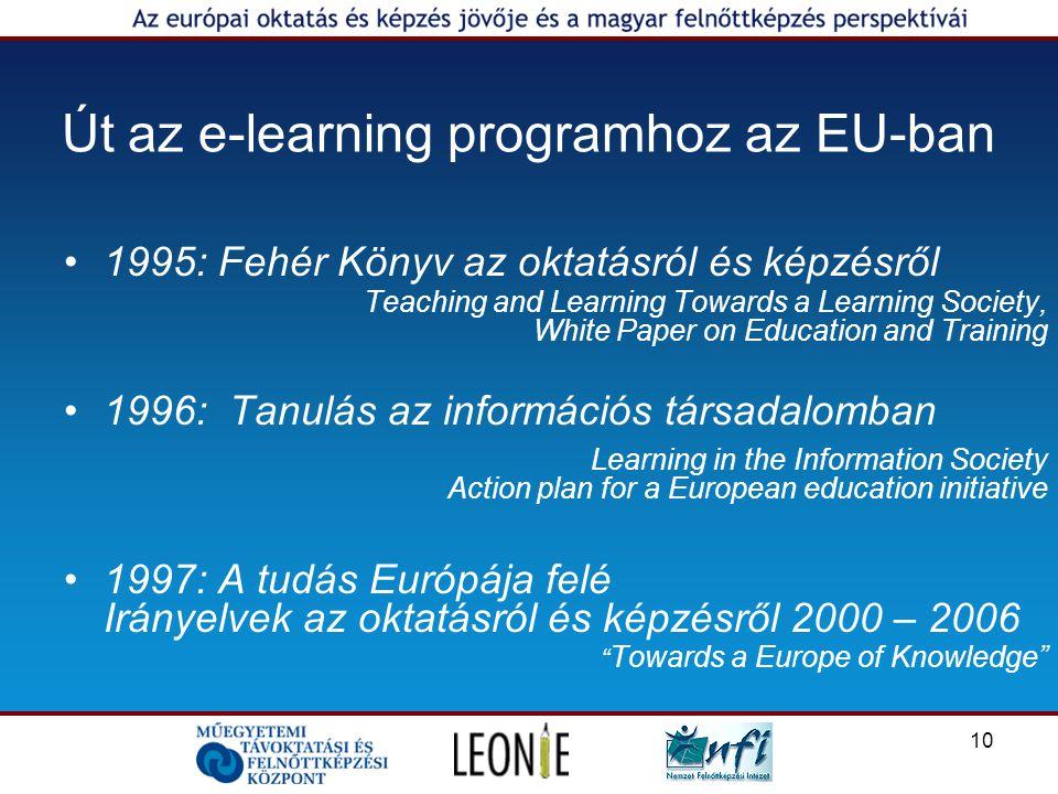 10 Út az e-learning programhoz az EU-ban 1995: Fehér Könyv az oktatásról és képzésről Teaching and Learning Towards a Learning Society, White Paper on Education and Training 1996: Tanulás az információs társadalomban Learning in the Information Society Action plan for a European education initiative 1997: A tudás Európája felé Irányelvek az oktatásról és képzésről 2000 – 2006 Towards a Europe of Knowledge
