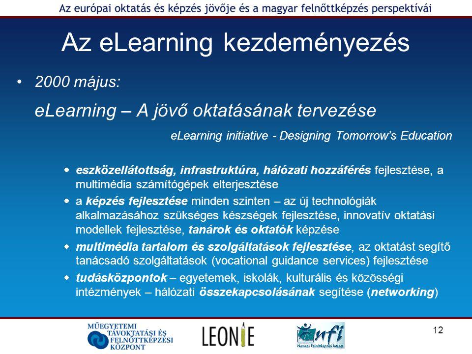 12 Az eLearning kezdeményezés 2000 május: eLearning – A jövő oktatásának tervezése eLearning initiative - Designing Tomorrow's Education  eszközellátottság, infrastruktúra, hálózati hozzáférés fejlesztése, a multimédia számítógépek elterjesztése  a képzés fejlesztése minden szinten – az új technológiák alkalmazásához szükséges készségek fejlesztése, innovatív oktatási modellek fejlesztése, tanárok és oktatók képzése  multimédia tartalom és szolgáltatások fejlesztése, az oktatást segítő tanácsadó szolgáltatások (vocational guidance services) fejlesztése  tudásközpontok – egyetemek, iskolák, kulturális és közösségi intézmények – hálózati összekapcsolásának segítése (networking)