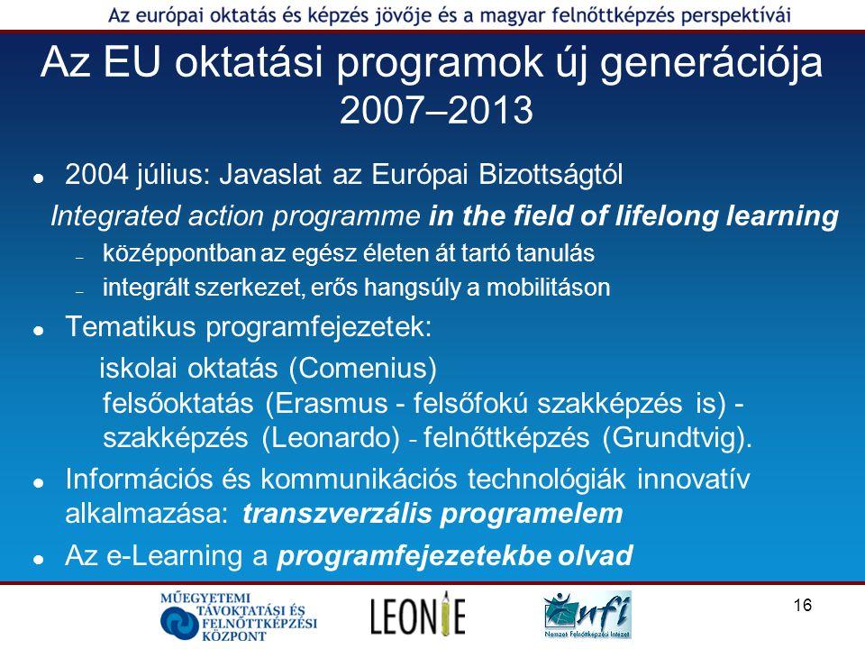 16 Az EU oktatási programok új generációja 2007–2013 2004 július: Javaslat az Európai Bizottságtól Integrated action programme in the field of lifelong learning – középpontban az egész életen át tartó tanulás – integrált szerkezet, erős hangsúly a mobilitáson Tematikus programfejezetek: iskolai oktatás (Comenius) felsőoktatás (Erasmus - felsőfokú szakképzés is) - szakképzés (Leonardo) - felnőttképzés (Grundtvig).