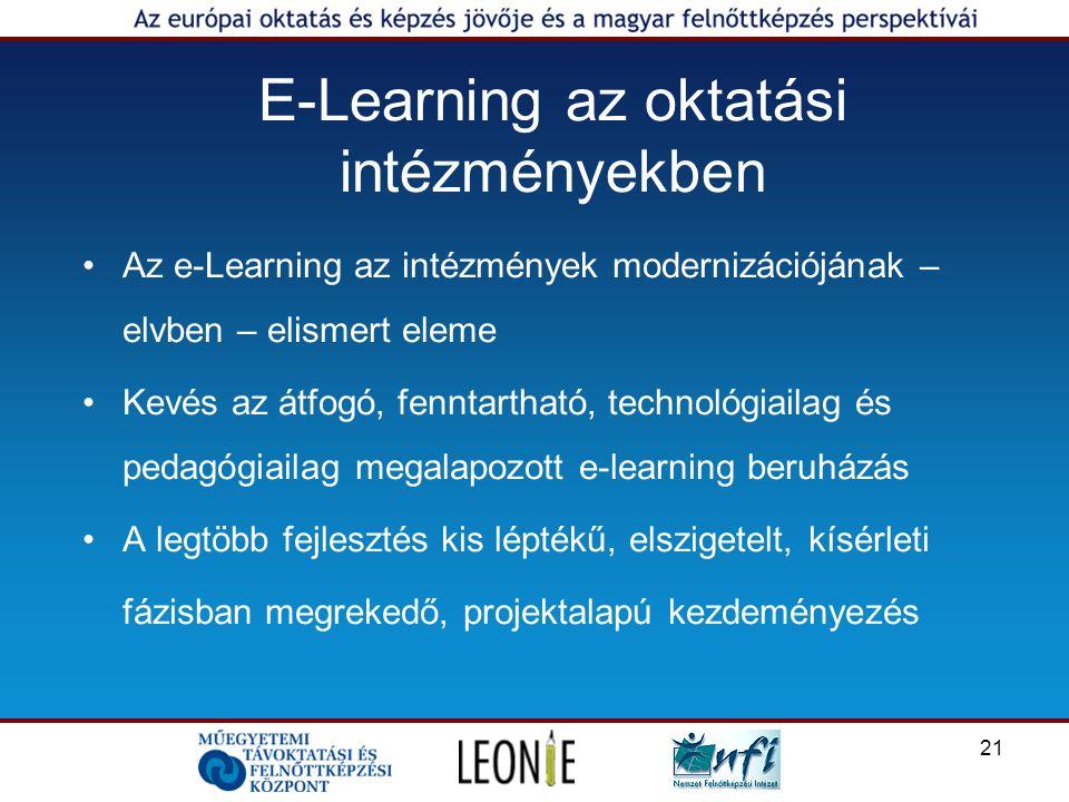 21 E-Learning az oktatási intézményekben Az e-Learning az intézmények modernizációjának – elvben – elismert eleme Kevés az átfogó, fenntartható, technológiailag és pedagógiailag megalapozott e-learning beruházás A legtöbb fejlesztés kis léptékű, elszigetelt, kísérleti fázisban megrekedő, projektalapú kezdeményezés