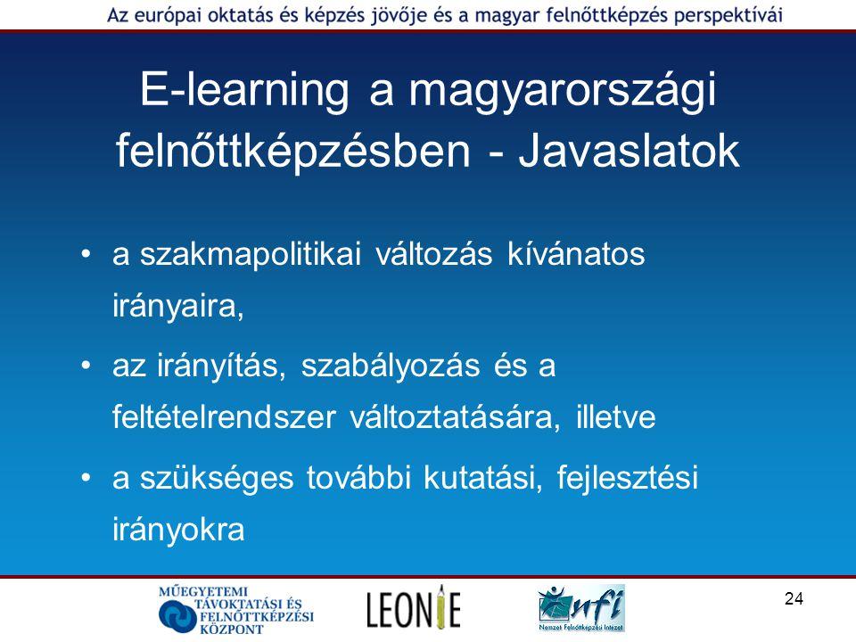24 E-learning a magyarországi felnőttképzésben - Javaslatok a szakmapolitikai változás kívánatos irányaira, az irányítás, szabályozás és a feltételrendszer változtatására, illetve a szükséges további kutatási, fejlesztési irányokra
