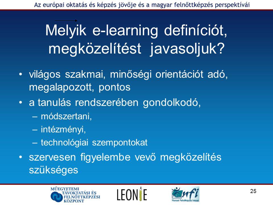 25 Melyik e-learning definíciót, megközelítést javasoljuk.