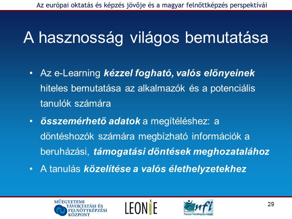 29 A hasznosság világos bemutatása Az e-Learning kézzel fogható, valós előnyeinek hiteles bemutatása az alkalmazók és a potenciális tanulók számára összemérhető adatok a megítéléshez: a döntéshozók számára megbízható információk a beruházási, támogatási döntések meghozatalához A tanulás közelítése a valós élethelyzetekhez