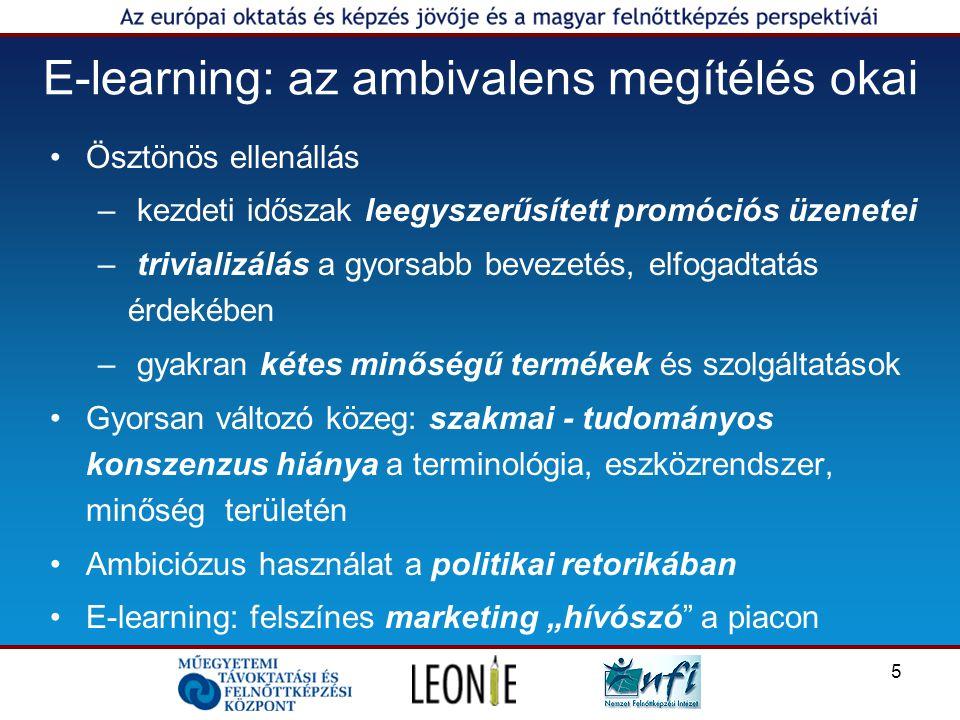 """5 E-learning: az ambivalens megítélés okai Ösztönös ellenállás – kezdeti időszak leegyszerűsített promóciós üzenetei – trivializálás a gyorsabb bevezetés, elfogadtatás érdekében – gyakran kétes minőségű termékek és szolgáltatások Gyorsan változó közeg: szakmai - tudományos konszenzus hiánya a terminológia, eszközrendszer, minőség területén Ambiciózus használat a politikai retorikában E-learning: felszínes marketing """"hívószó a piacon"""