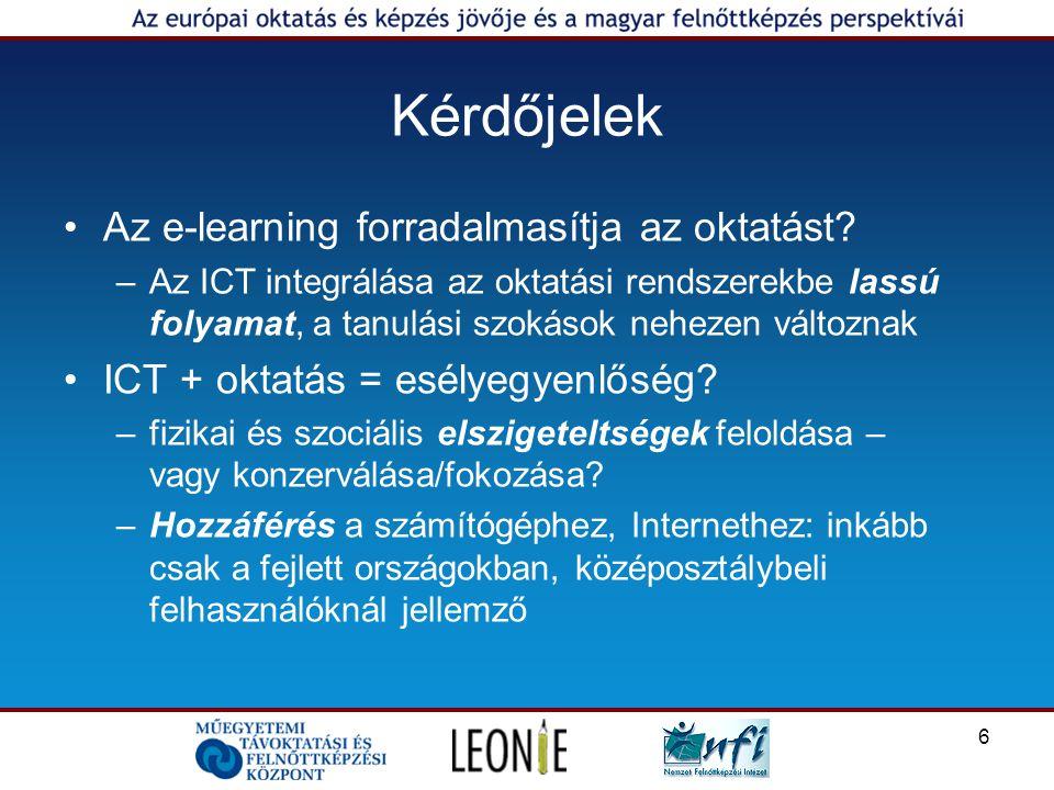 6 Kérdőjelek Az e-learning forradalmasítja az oktatást.