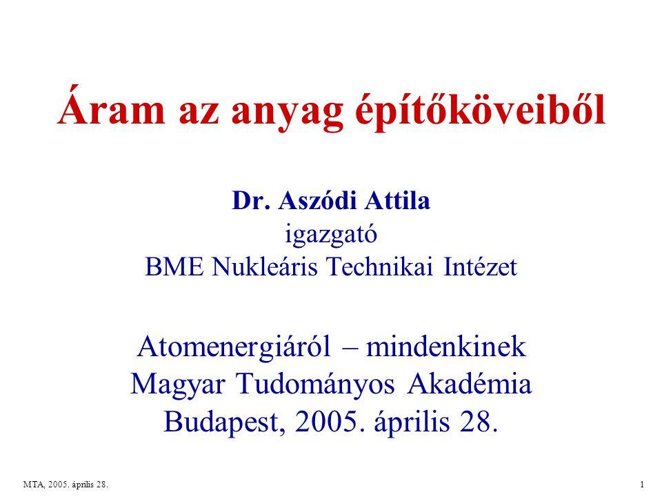 MTA, 2005.április 28.1 Áram az anyag építőköveiből Dr.