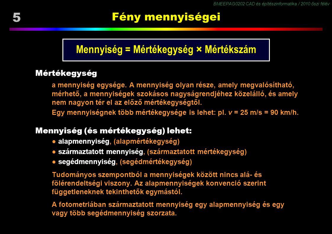 BMEEPAG0202 CAD és építészinformatika / 2010 őszi félév 5 Fény mennyiségei Mennyiség = Mértékegység × Mértékszám Mértékegység a mennyiség egysége. A m