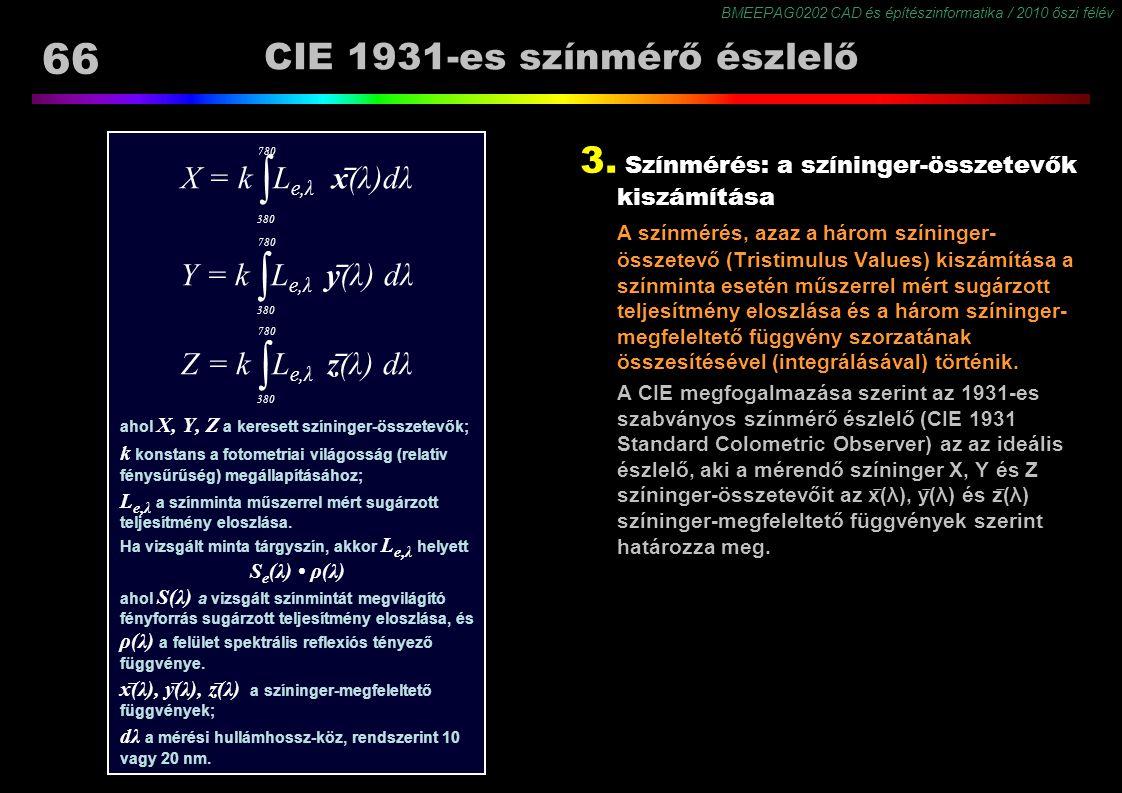 BMEEPAG0202 CAD és építészinformatika / 2010 őszi félév 66 X = k ∫ L e,λ x ̅ (λ)dλ Y = k ∫ L e,λ y ̅ (λ) dλ Z = k ∫ L e,λ z ̅ (λ) dλ ahol X, Y, Z a ke