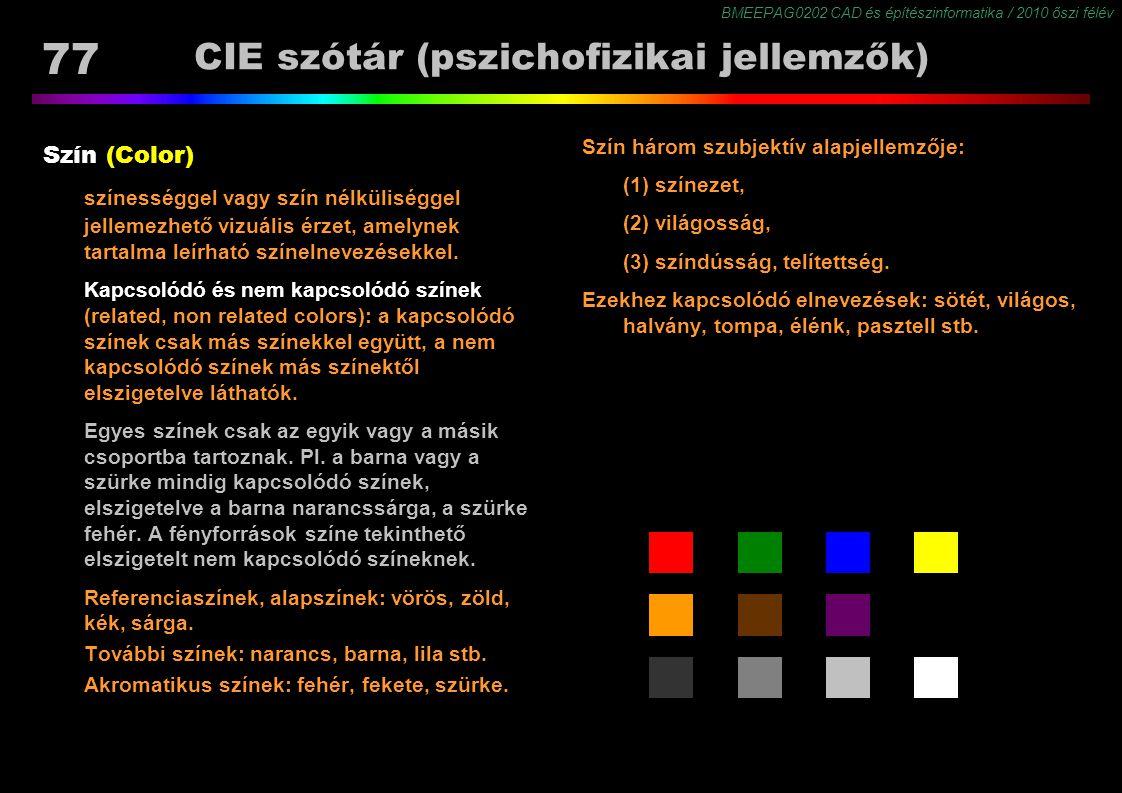 BMEEPAG0202 CAD és építészinformatika / 2010 őszi félév 77 CIE szótár (pszichofizikai jellemzők) Szín (Color) színességgel vagy szín nélküliséggel jel