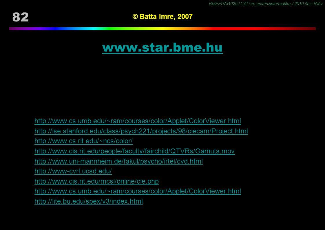BMEEPAG0202 CAD és építészinformatika / 2010 őszi félév 82 © Batta Imre, 2007 www.star.bme.hu http://www.cs.umb.edu/~ram/courses/color/Applet/ColorVie