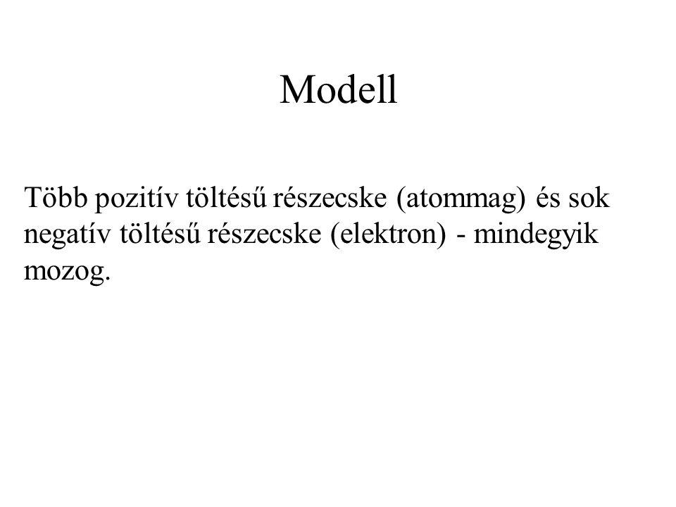 Modell Több pozitív töltésű részecske (atommag) és sok negatív töltésű részecske (elektron) - mindegyik mozog.