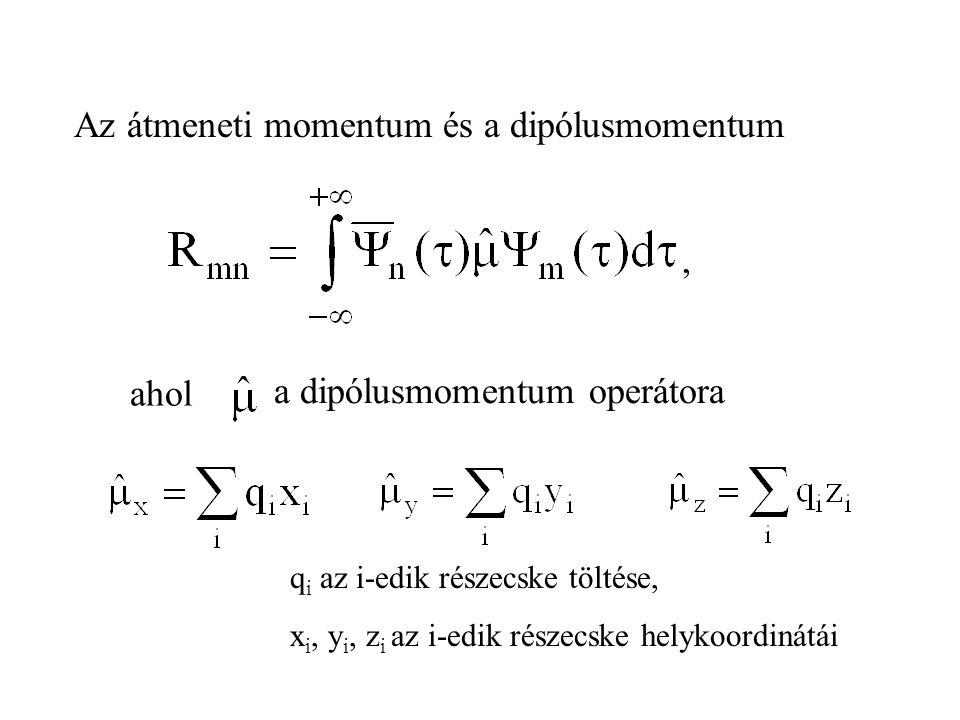 , ahol a dipólusmomentum operátora Az átmeneti momentum és a dipólusmomentum q i az i-edik részecske töltése, x i, y i, z i az i-edik részecske helykoordinátái