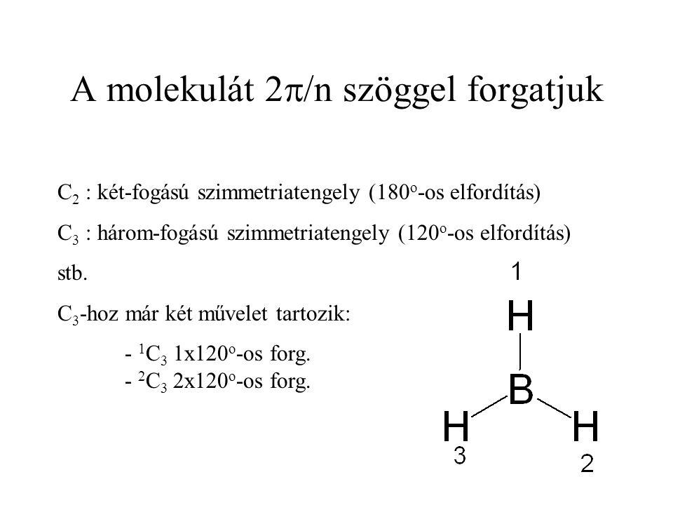 A molekulát 2  /n szöggel forgatjuk C 2 : két-fogású szimmetriatengely (180 o -os elfordítás) C 3 : három-fogású szimmetriatengely (120 o -os elfordítás) stb.
