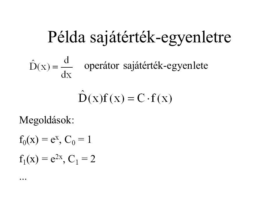 Példa sajátérték-egyenletre operátor sajátérték-egyenlete Megoldások: f 0 (x) = e x, C 0 = 1 f 1 (x) = e 2x, C 1 = 2 