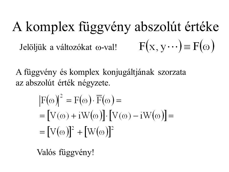 A komplex függvény abszolút értéke A függvény és komplex konjugáltjának szorzata az abszolút érték négyzete. Jelöljük a változókat  -val! Valós függv