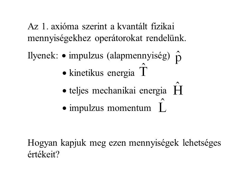 Az 1. axióma szerint a kvantált fizikai mennyiségekhez operátorokat rendelünk. Ilyenek:  impulzus (alapmennyiség)  kinetikus energia  teljes mechan