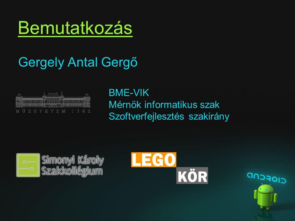 Bemutatkozás Gergely Antal Gergő BME-VIK Mérnök informatikus szak Szoftverfejlesztés szakirány
