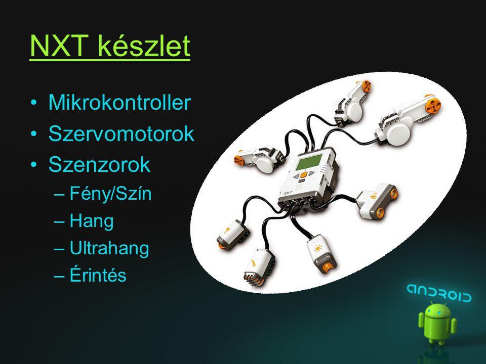 NXT készlet Mikrokontroller Szervomotorok Szenzorok –Fény/Szín –Hang –Ultrahang –Érintés