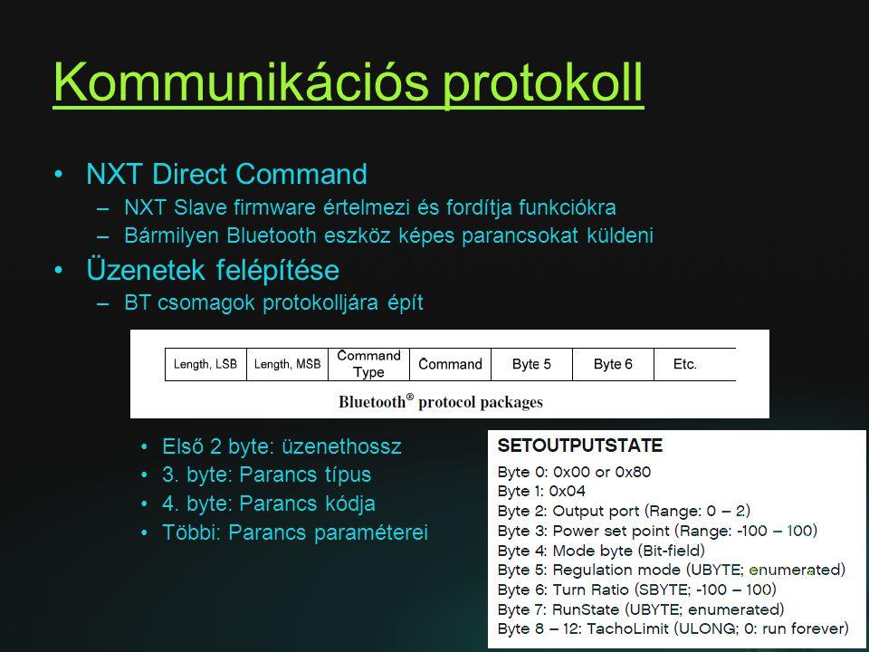 Kommunikációs protokoll NXT Direct Command –NXT Slave firmware értelmezi és fordítja funkciókra –Bármilyen Bluetooth eszköz képes parancsokat küldeni