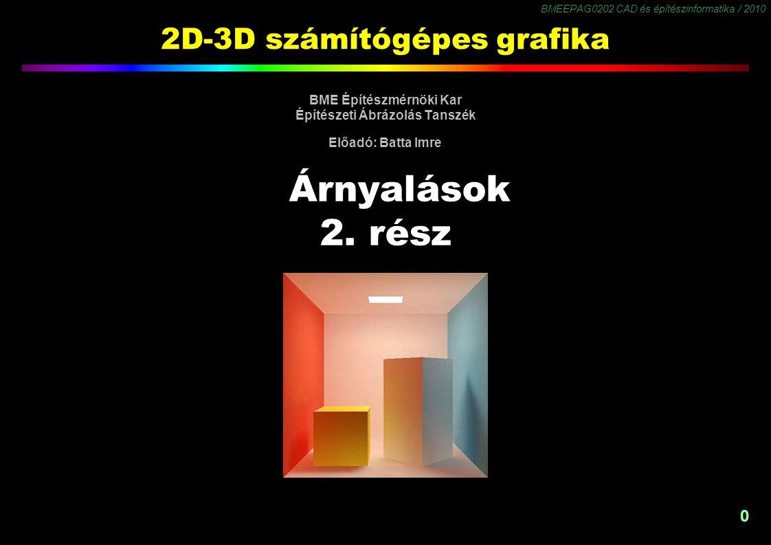 BMEEPAG0202 CAD és építészinformatika / 2010 0 2D-3D számítógépes grafika BME Építészmérnöki Kar Építészeti Ábrázolás Tanszék Előadó: Batta Imre Árnyalások 2.