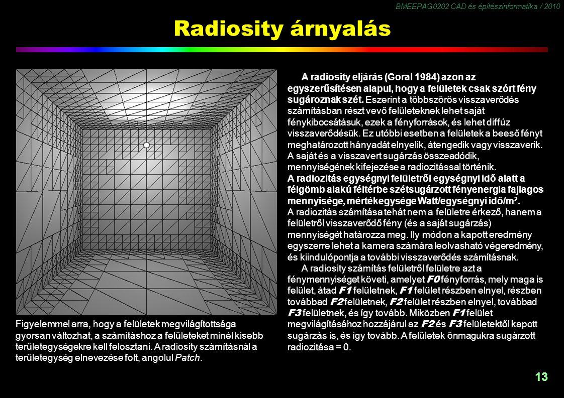BMEEPAG0202 CAD és építészinformatika / 2010 13 Radiosity árnyalás A radiosity eljárás (Goral 1984) azon az egyszerűsítésen alapul, hogy a felületek csak szórt fény sugároznak szét.