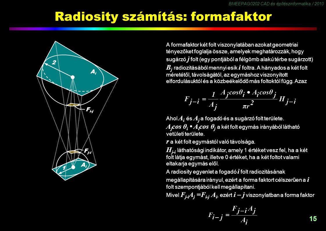 BMEEPAG0202 CAD és építészinformatika / 2010 15 Radiosity számítás: formafaktor F j-i F i-j 2 1 AiAi AiAi A formafaktor két folt viszonylatában azokat geometriai tényezőket foglalja össze, amelyek meghatározzák, hogy sugárzó j folt (egy pontjából a félgömb alakú térbe sugárzott) B j radiozitásából mennyi esik i foltra.