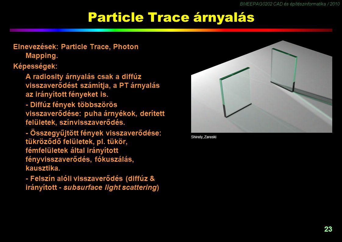 BMEEPAG0202 CAD és építészinformatika / 2010 23 Particle Trace árnyalás Elnevezések: Particle Trace, Photon Mapping. Képességek: A radiosity árnyalás