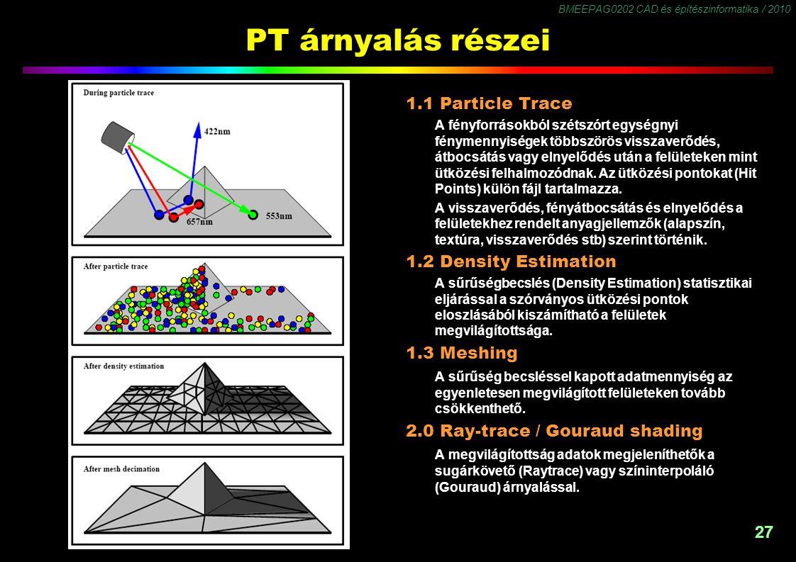 BMEEPAG0202 CAD és építészinformatika / 2010 27 PT árnyalás részei 1.1 Particle Trace A fényforrásokból szétszórt egységnyi fénymennyiségek többszörös visszaverődés, átbocsátás vagy elnyelődés után a felületeken mint ütközési felhalmozódnak.