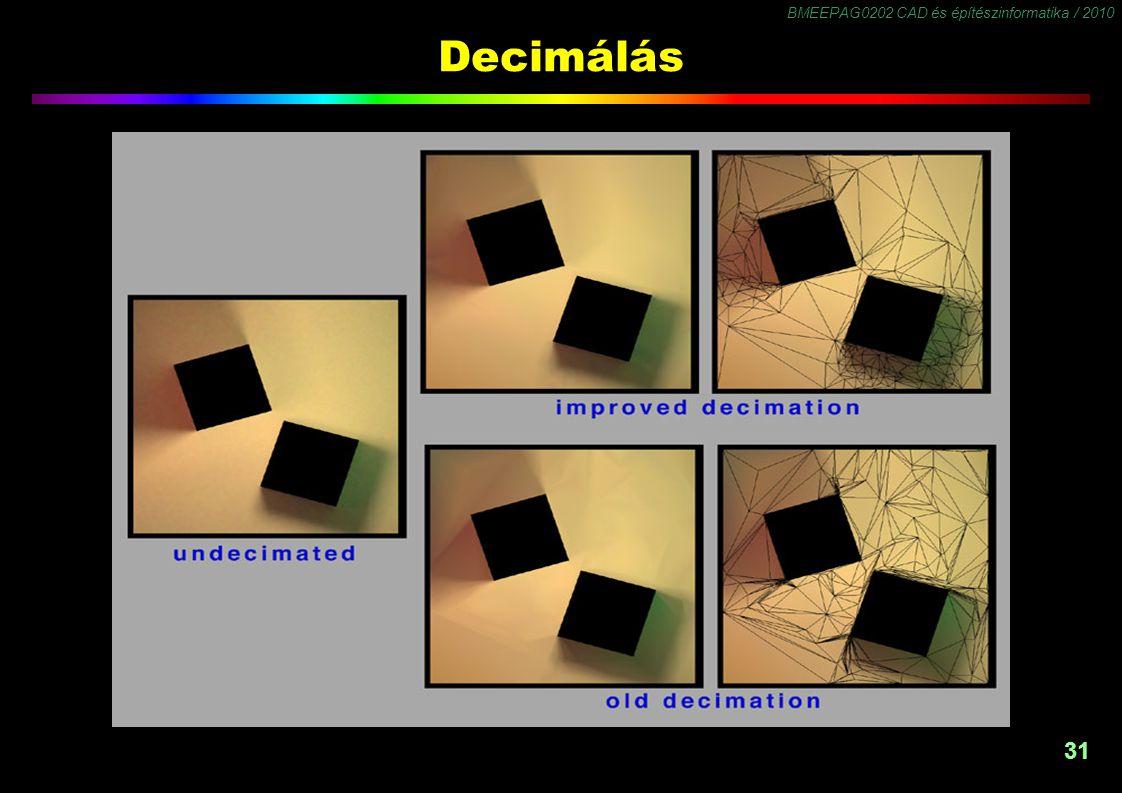 BMEEPAG0202 CAD és építészinformatika / 2010 31 Decimálás