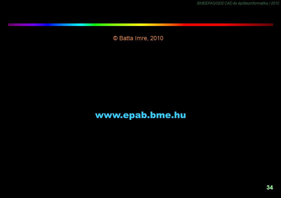 BMEEPAG0202 CAD és építészinformatika / 2010 34 © Batta Imre, 2010 -1,5 www.epab.bme.hu