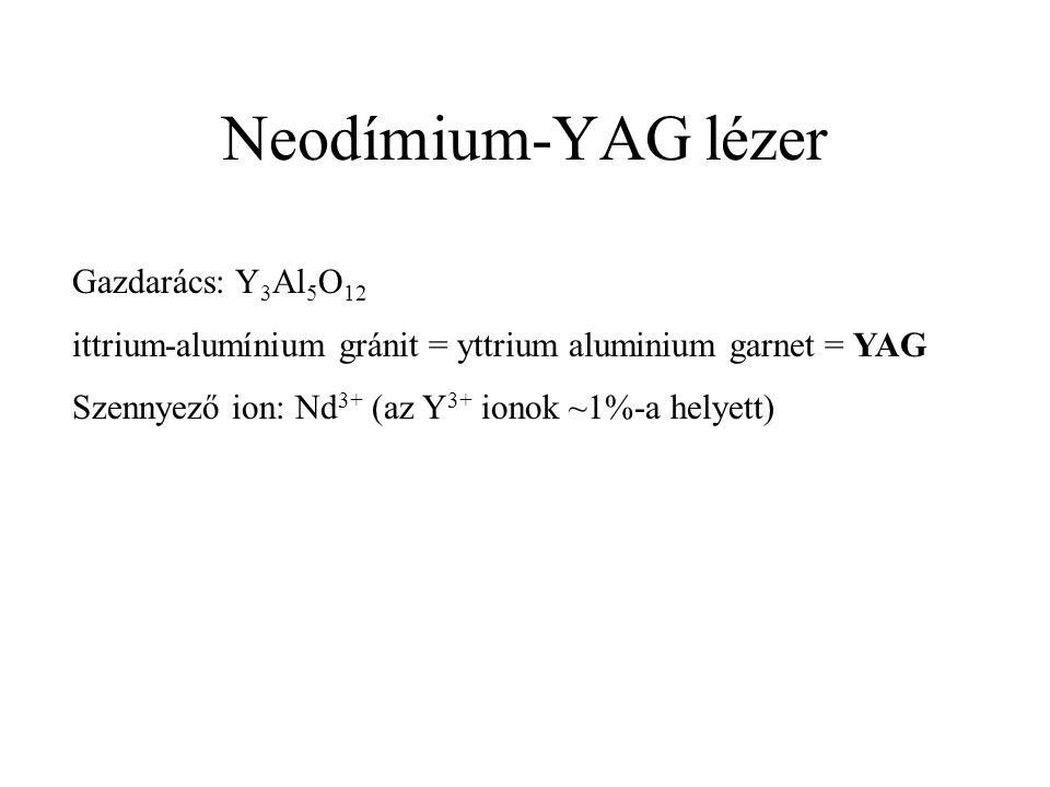 Neodímium-YAG lézer Gazdarács: Y 3 Al 5 O 12 ittrium-alumínium gránit = yttrium aluminium garnet = YAG Szennyező ion: Nd 3+ (az Y 3+ ionok ~1%-a helyett)