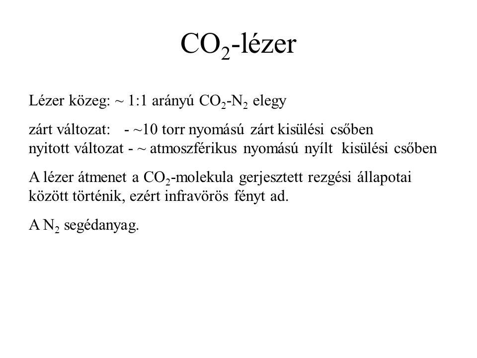CO 2 -lézer Lézer közeg: ~ 1:1 arányú CO 2 -N 2 elegy zárt változat: - ~10 torr nyomású zárt kisülési csőben nyitott változat - ~ atmoszférikus nyomású nyílt kisülési csőben A lézer átmenet a CO 2 -molekula gerjesztett rezgési állapotai között történik, ezért infravörös fényt ad.