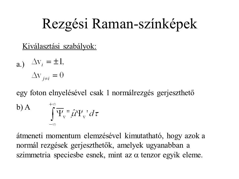 Rezgési Raman-színképek a.) egy foton elnyelésével csak 1 normálrezgés gerjeszthető b) A átmeneti momentum elemzésével kimutatható, hogy azok a normál rezgések gerjeszthetők, amelyek ugyanabban a szimmetria speciesbe esnek, mint az  tenzor egyik eleme.