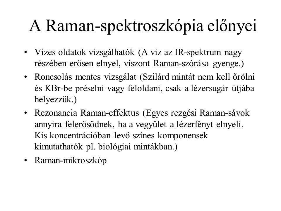 A Raman-spektroszkópia előnyei Vizes oldatok vizsgálhatók (A víz az IR-spektrum nagy részében erősen elnyel, viszont Raman-szórása gyenge.) Roncsolás mentes vizsgálat (Szilárd mintát nem kell őrölni és KBr-be préselni vagy feloldani, csak a lézersugár útjába helyezzük.) Rezonancia Raman-effektus (Egyes rezgési Raman-sávok annyira felerősödnek, ha a vegyület a lézerfényt elnyeli.
