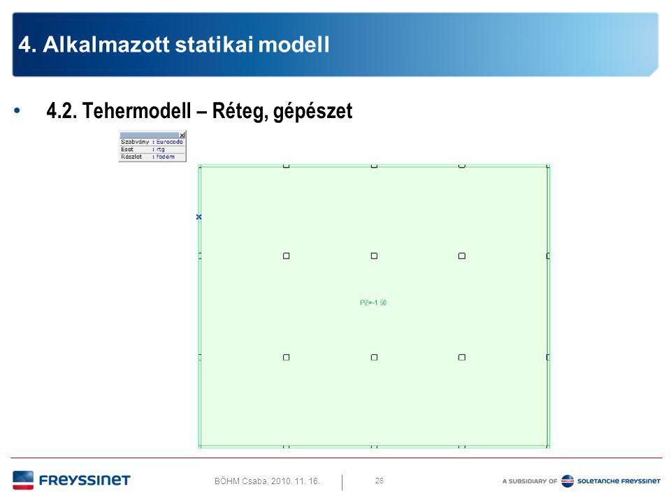 """BÖHM Csaba, 2010. 11. 16. 4.2. Tehermodell – Feszítés """"X 27 4. Alkalmazott statikai modell"""