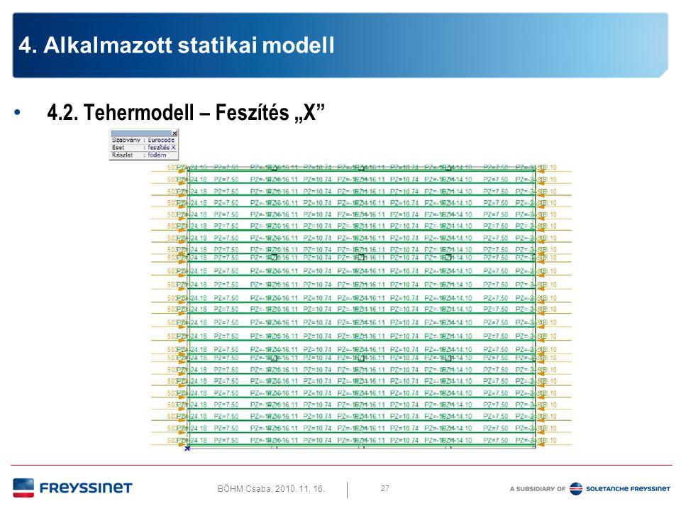 """BÖHM Csaba, 2010. 11. 16. 4.2. Tehermodell – Feszítés """"Y 28 4. Alkalmazott statikai modell"""