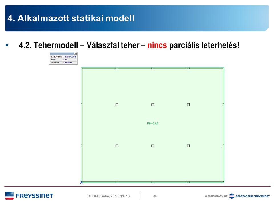 BÖHM Csaba, 2010. 11. 16. 4.2. Tehermodell – Teherkombinációk 36 4. Alkalmazott statikai modell