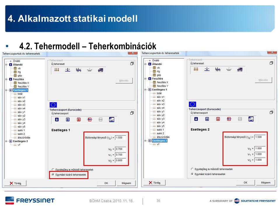 BÖHM Csaba, 2010. 11. 16. 4.2. Tehermodell – Teherkombinációk 37 4. Alkalmazott statikai modell
