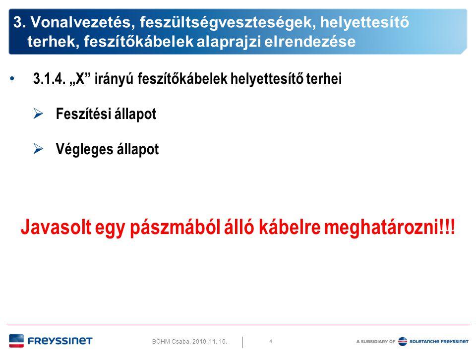 """BÖHM Csaba, 2010.11. 16. 3.1.4. """"X irányú feszítőkábelek helyettesítő terhei 5 3."""