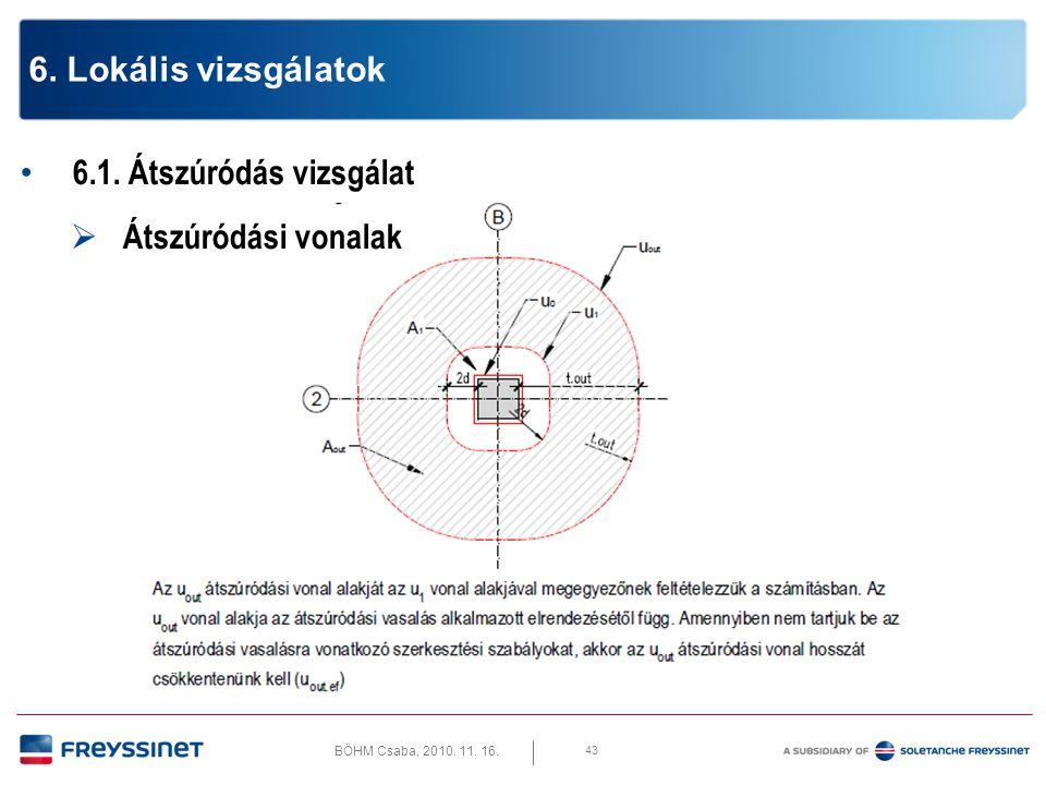BÖHM Csaba, 2010. 11. 16. 6.1. Átszúródás vizsgálat  Átszúródási vonalak 44 6. Lokális vizsgálatok