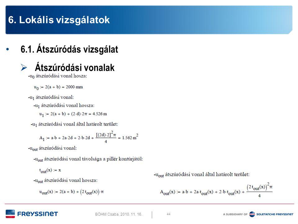 BÖHM Csaba, 2010.11. 16. 6.1. Átszúródás vizsgálat  Átszúró erő csökkentése 45 6.